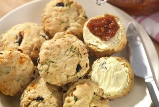 Basil and Olive Scones with Tomato Chutney